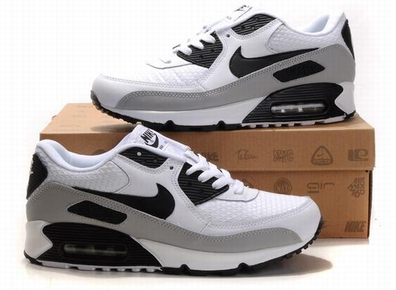 Nike Air Max 90 Hommes Mode Chaussures Blanc Gris Noir   Air Max ... d795fe1d673f
