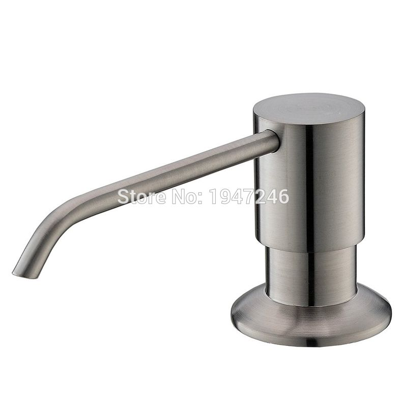 Solid Stainless Steel Brushed Nickel Built In Deck Mount Pump Countertop  Kitchen Sink Soap Dispenser Set