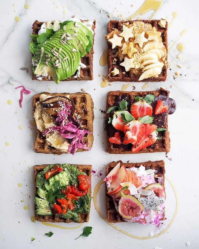 Vegan Waffles with: 1. Avo, Tahini & Sunflower Seeds 2. Hummus, Roasted Eggplant and Pickled Cabbage  3. Pesto, Cucumber and Cherry Tomato 4. PB, Banana & Peanuts 5. Choc Spread & Strawberries 6. Berry Coyo, Peach, Fig & Coconut Enjoy! #LetsCookVegan