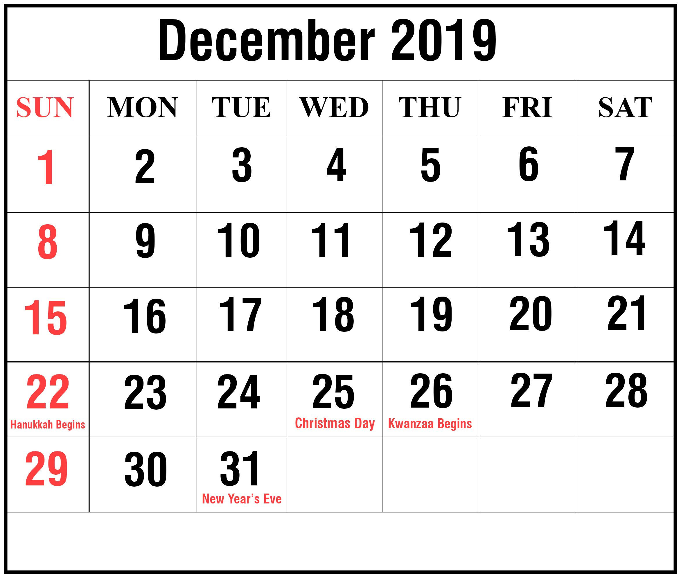 December 2019 Calendar with Holidays US Free printable