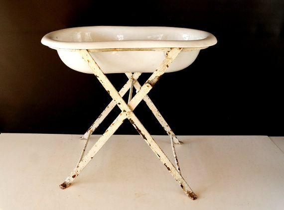 Vintage / Antique European Graniteware Porcelain Enamel Baby Bath ...