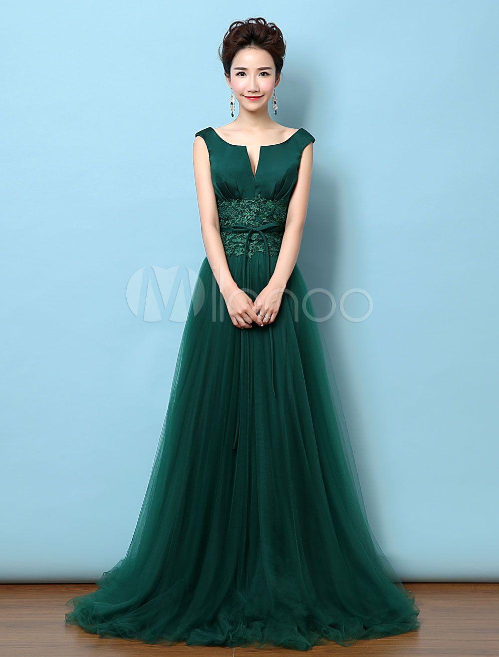 Vestido de noche de color verde oscuro sin mangas Escote con fisura ...