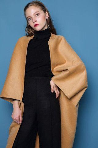 Oversized Camel Wool Coat
