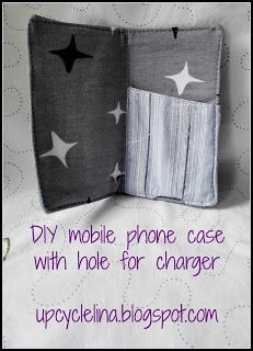 Upcyclelina:DIY Mobile phone case with a hole for the charger and upcycled materials