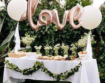 LOVE script Rose gold Mylar Balloons and 2 White 36 | Etsy