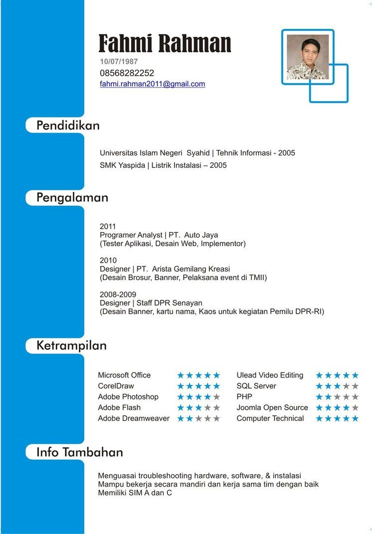 cv template bahasa indonesia    bahasa  cvtemplate  indonesia  template