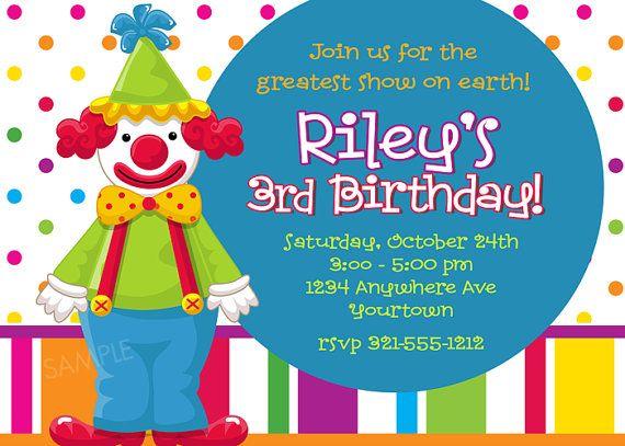 Clown Birthday Invitations Ideas