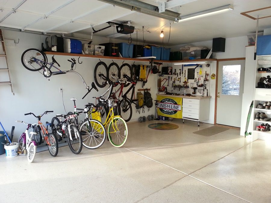 Well Organized Garage Single Bike Hooks Turned Sideways Will Reduce Their Wall Profile