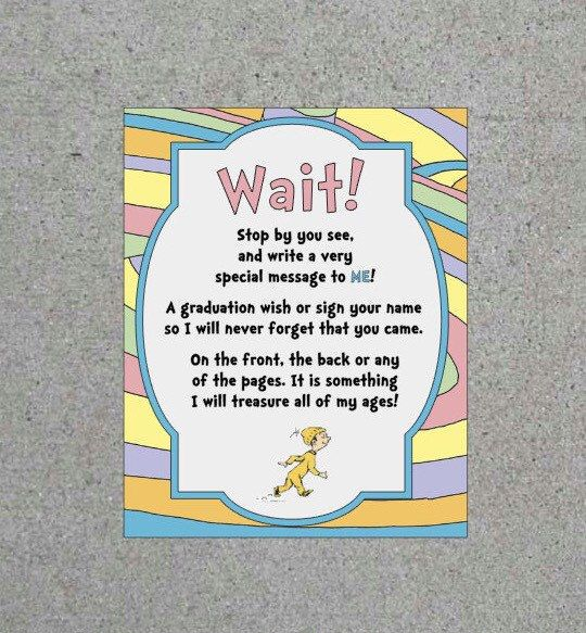 Dr. Seuss Oh The Places Youu0027ll Go Graduation Party Greeting Book Sign  Printable Digital Download