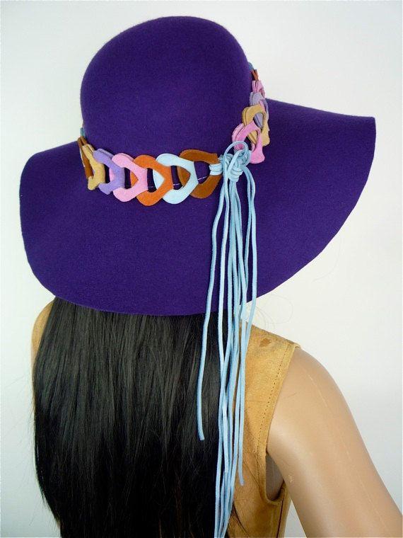 e53f8bacab7 60s  70s Hippie style purple felt hat