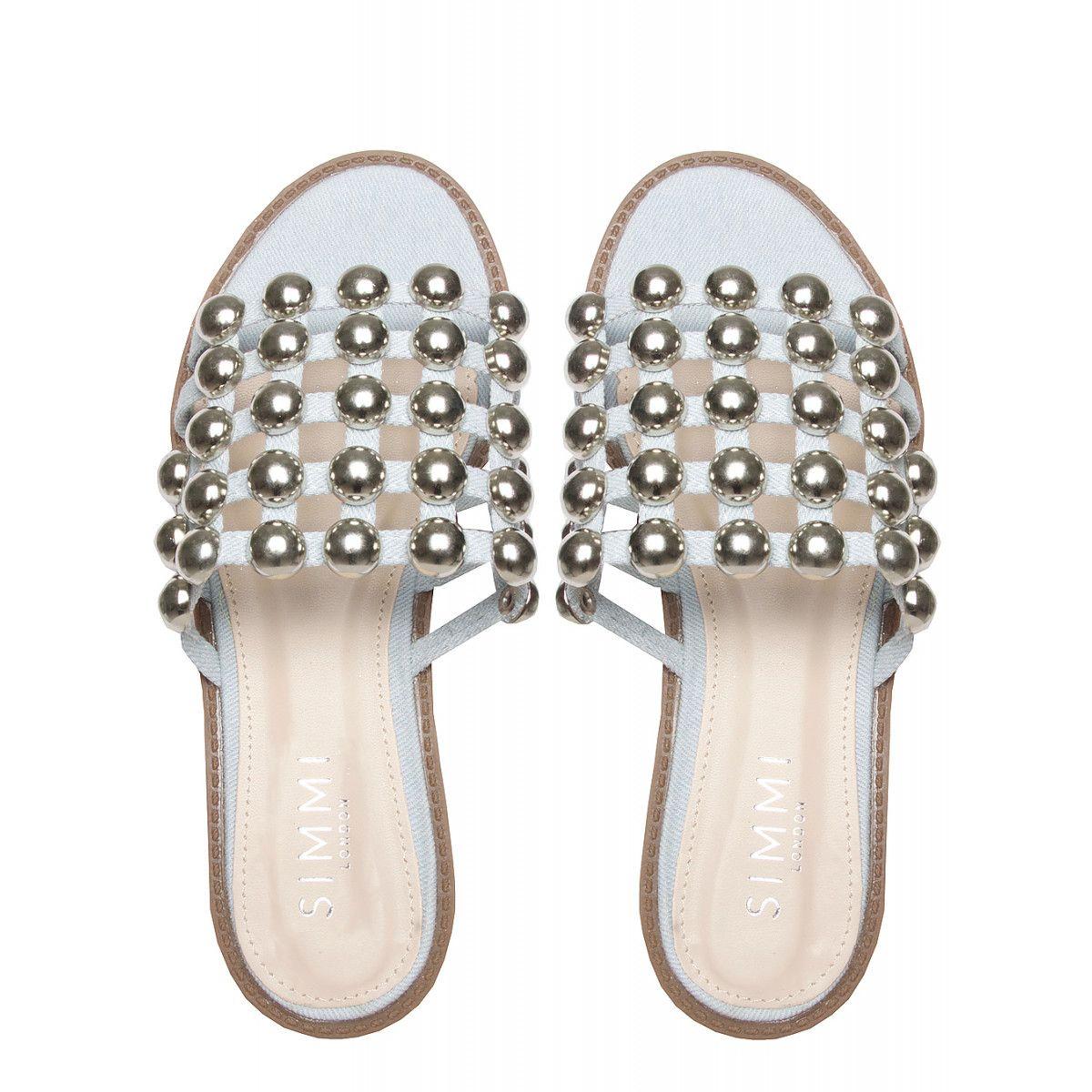 ef3f881c7a7 Elise Light Denim Studded Sliders : Simmi Shoes | My Shoe Game is ...