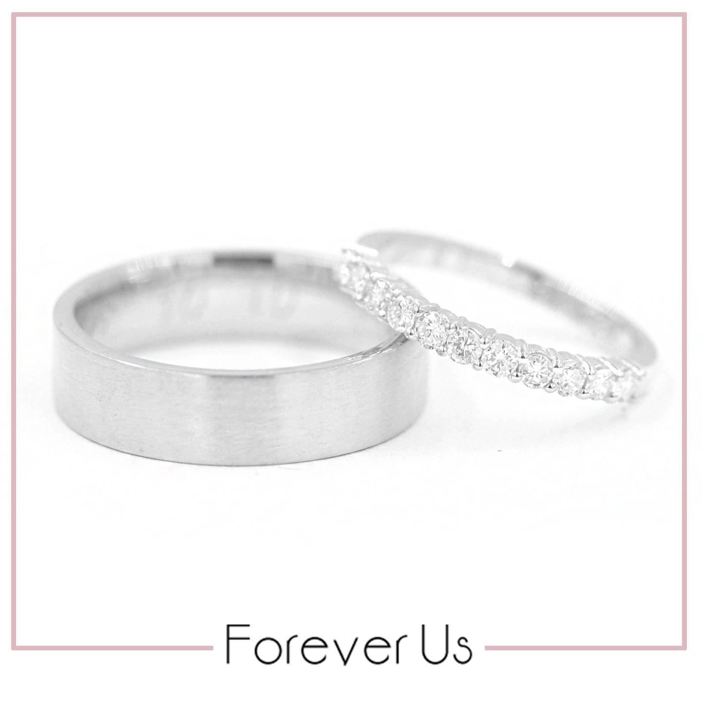 366bb69b0606 Argolla de matrimonio Ángel recta y Churumbela Iskra con diamantes en oro  blanco.