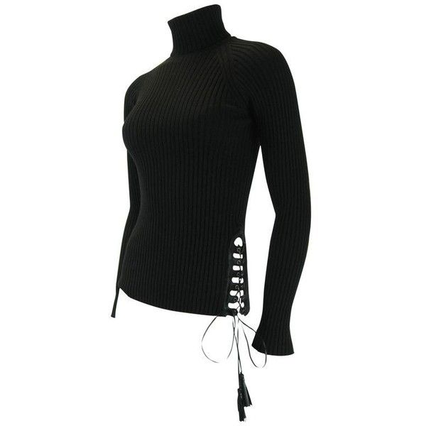 Preowned Jean Paul Gaultier Maille Black Sweater With Side Tie ($350) ❤ liked on Polyvore featuring tops, sweaters, black, leather corset top, fitted sweater, leather sweater, stretch top and jean paul gaultier sweaters