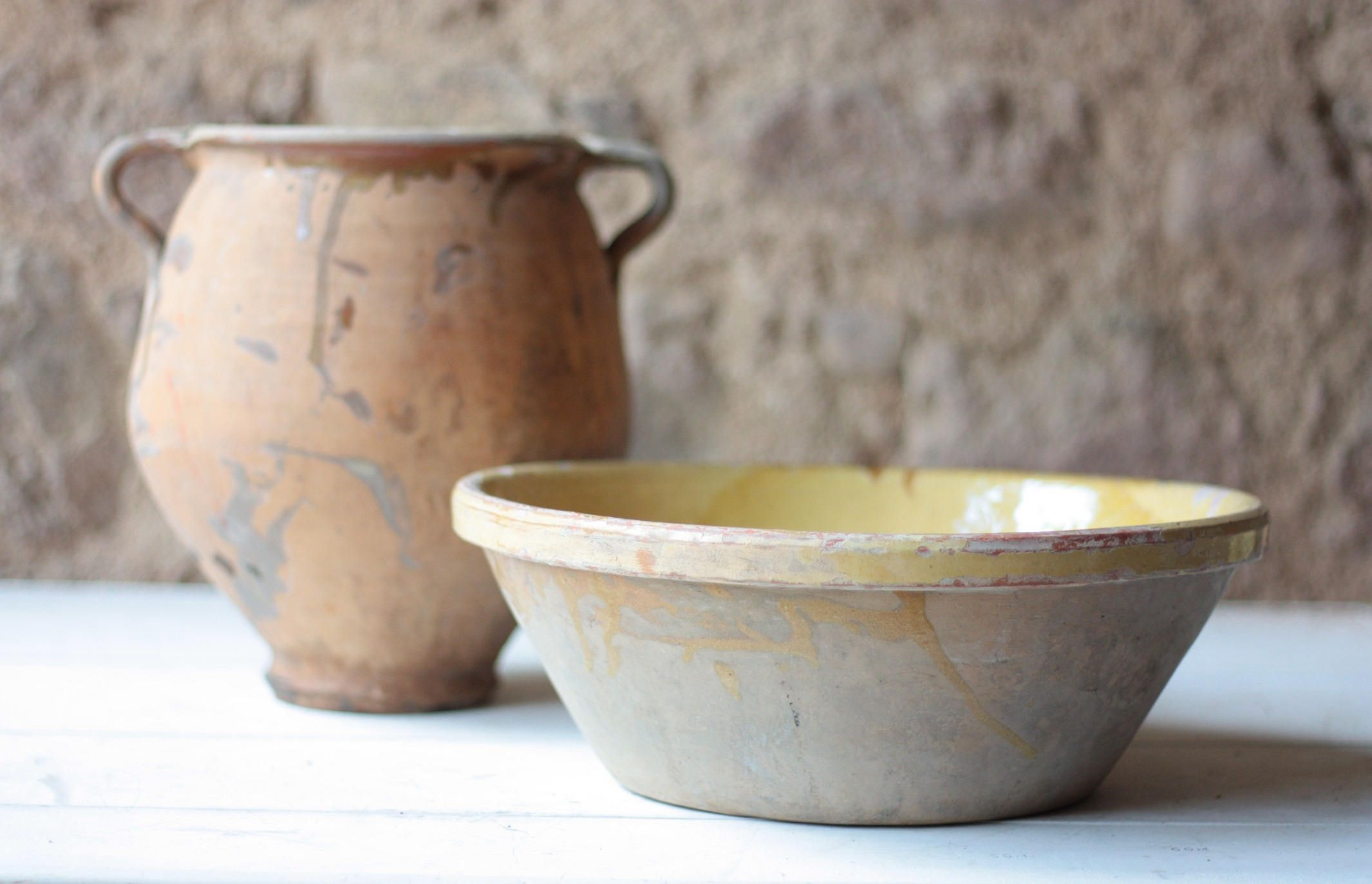 Large & Heavy Antique French Pottery Bowl, Tian de Provence by FarmGateVintage on Etsy