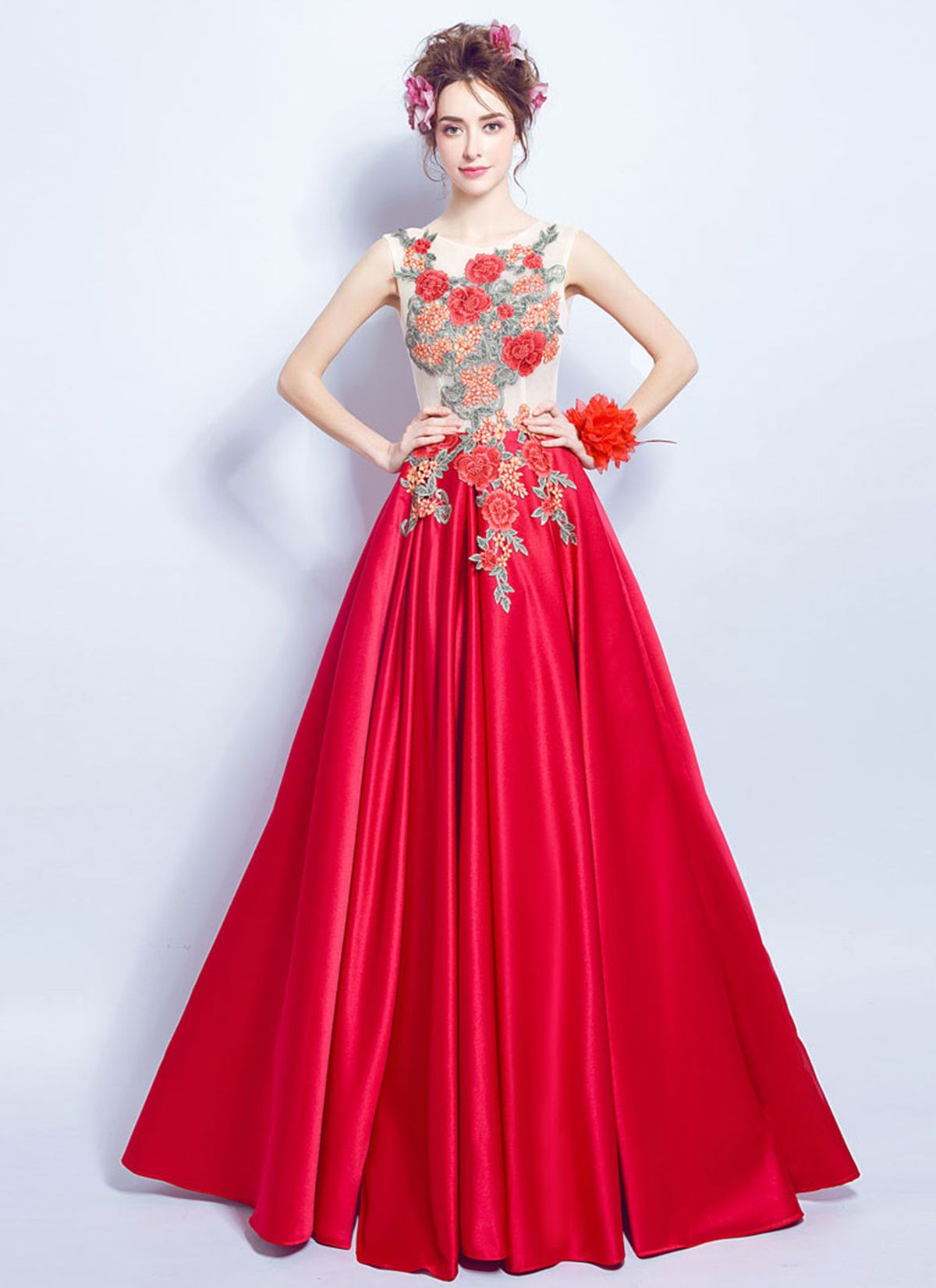 New design red satin round neck long customize prom dress ...