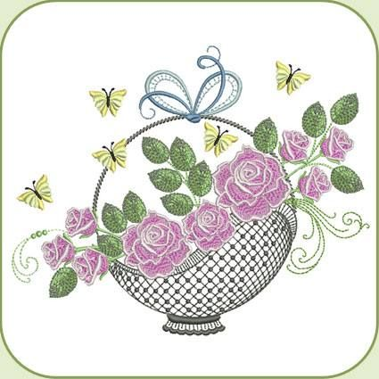 SDS0634 Roses   Rose basket, Machine embroidery designs, Stitch delight