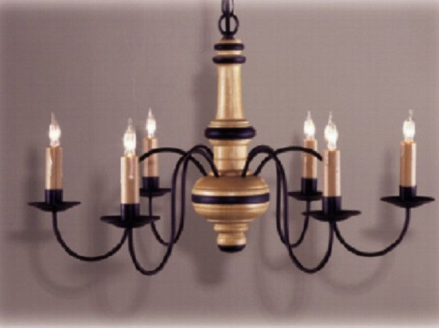 Kingston 6 Arm Wooden Chandelier By Country Traditions In Many Color Choices