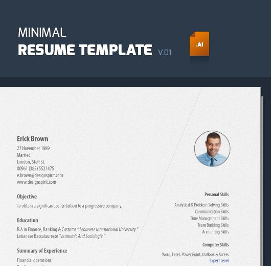 Minimal Resume Template V Illustrator  Illustrators Minimal
