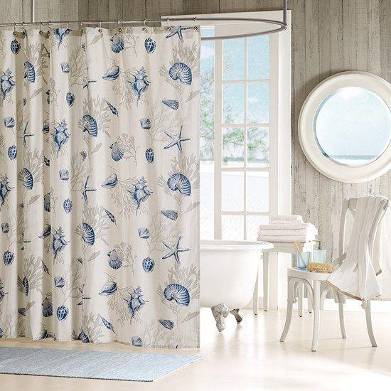 Bayside Shower Curtain Seashell Shower Curtain Beach Shower