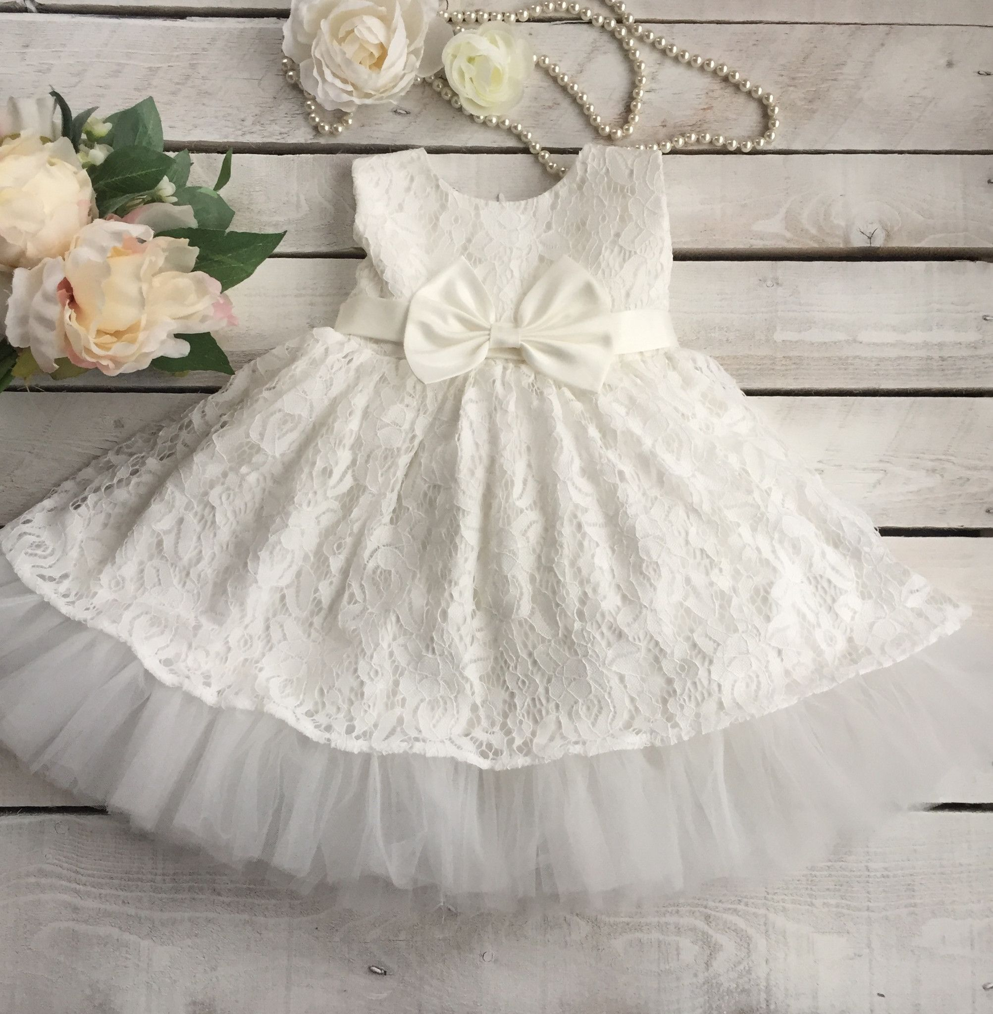 Lace and Tulle Ruffles Baby Girl Dress. Baby Baptism Dress. | Babies ...