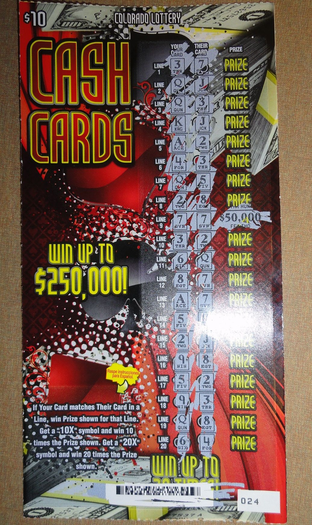 Colorado lottery scratch tickets prizes remaining in illinois