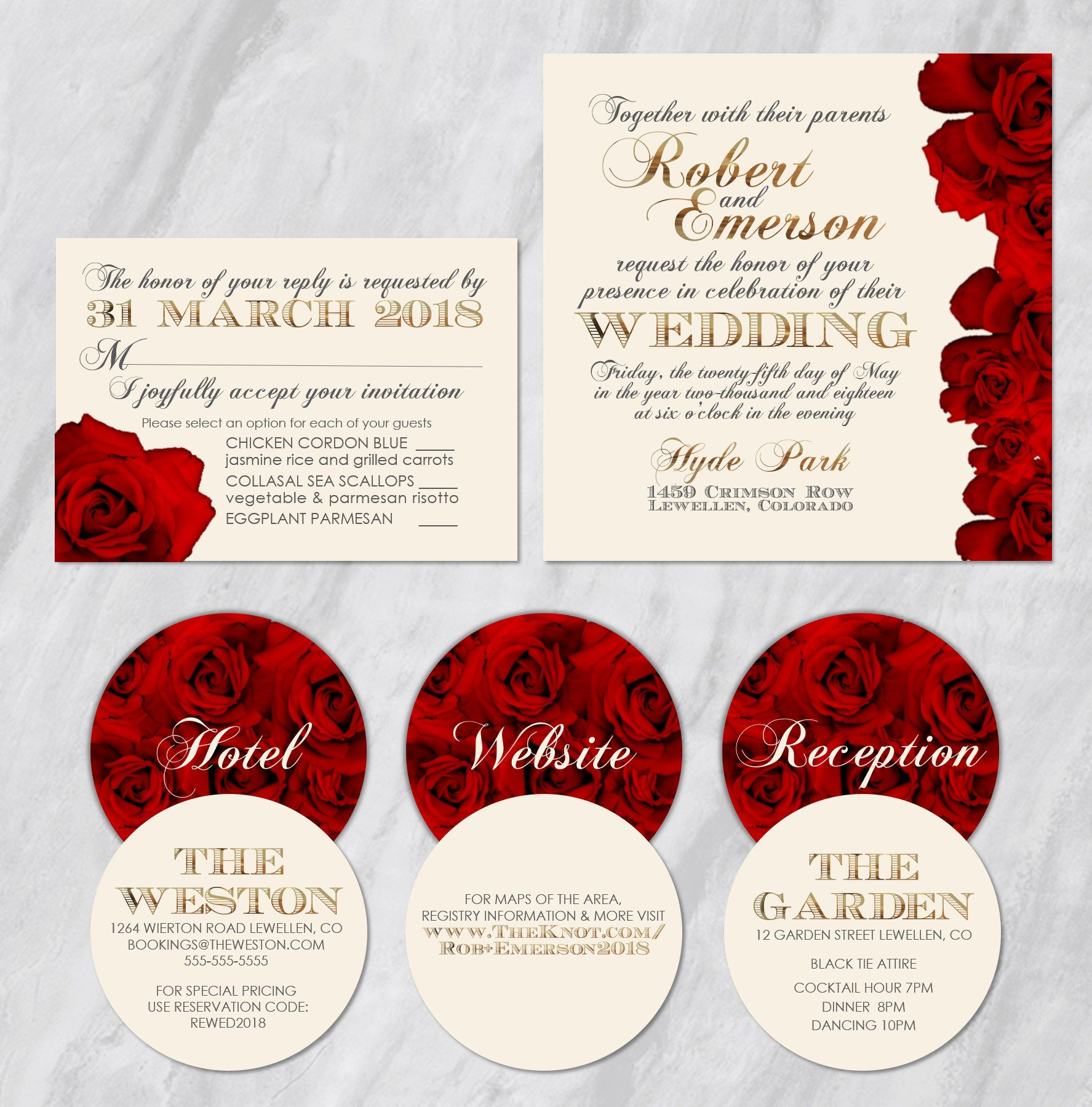 Red Rose Collection - Red Roses with Gold Foil Lettering Accents ...