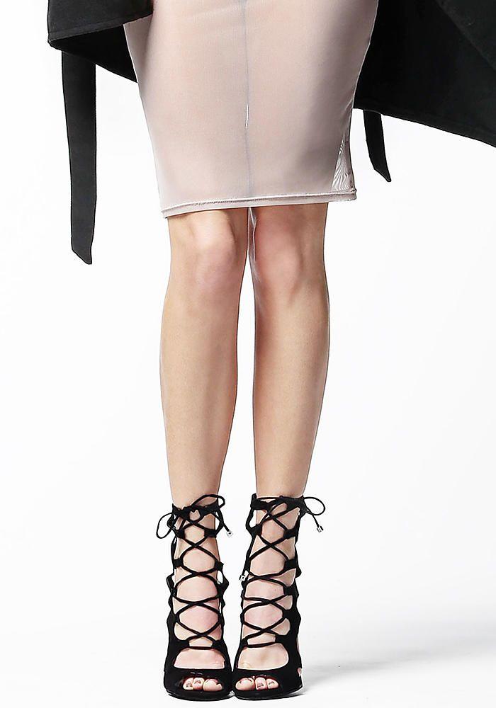 Black Suedette Lace Up Heels