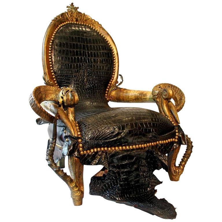 Best Black Crocodile Armchair With Alligator Skin And Zebu 640 x 480