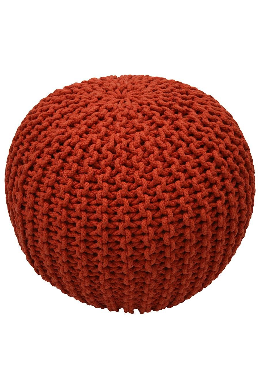 Orange Knitted Pouf To Sit On