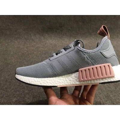 397e6ad098c49 Adidas NMD R1 Light Grey Rose Pink White Trainers Hot Sales