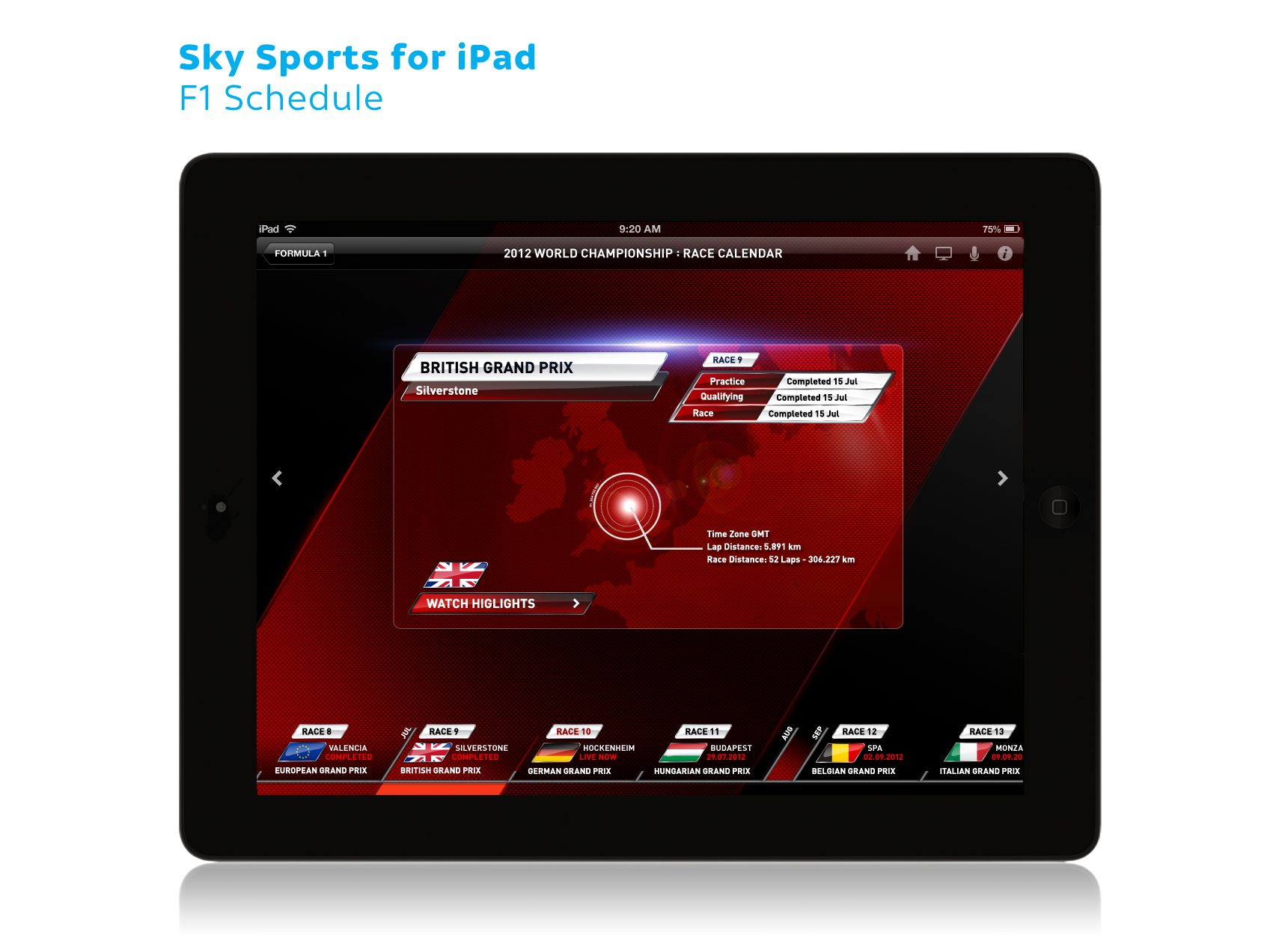 Sky Sports for iPad F1 06 Race calendar, F1 schedule