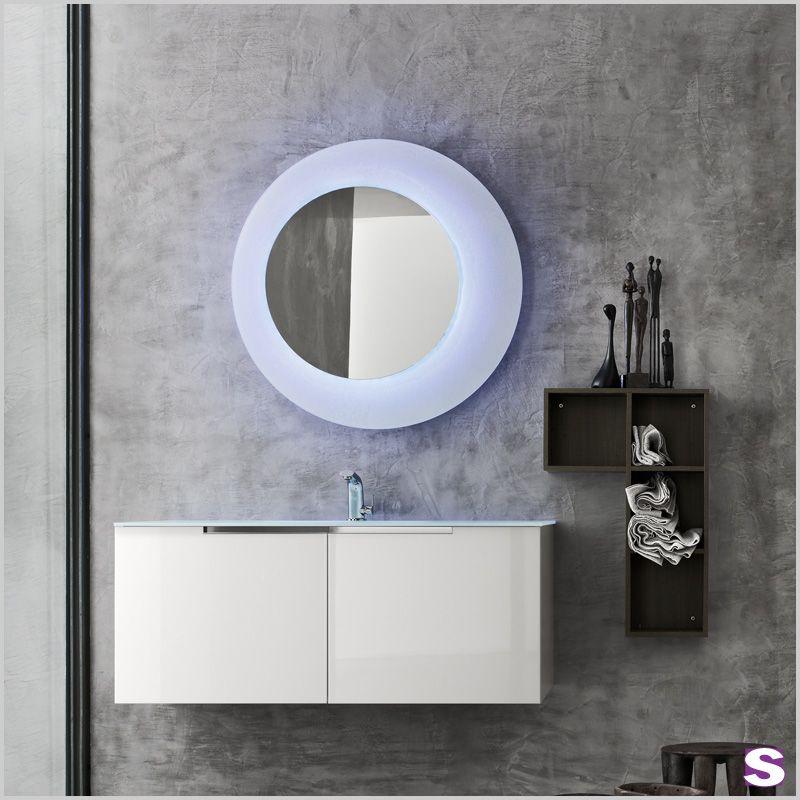 Designbadmöbel Berno - SEBASTIAN e.K. - Dieser LED-Lichtspiegel fällt auf. Mit Fernbedienung lassen sich verschiedene Farben einstellen. Von weiß über blau, gelb, rot, grün, bis hin zu lila können Sie Ihr Badezimmer nach Ihrer Stimmung färben.  #einrichtung #haus