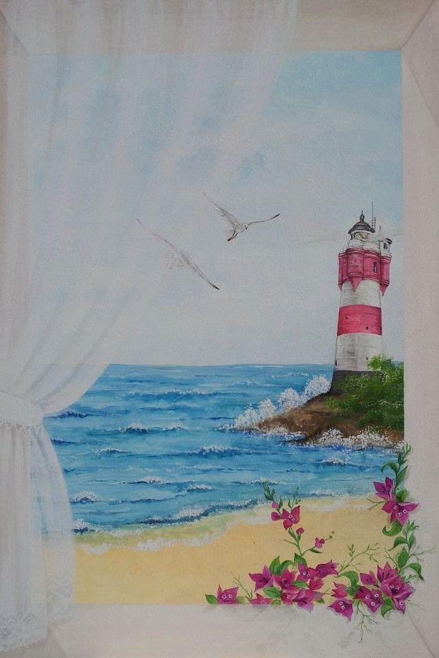 """trompe l'oeil di Grazia Zamignan  """"finesra sul mare"""""""