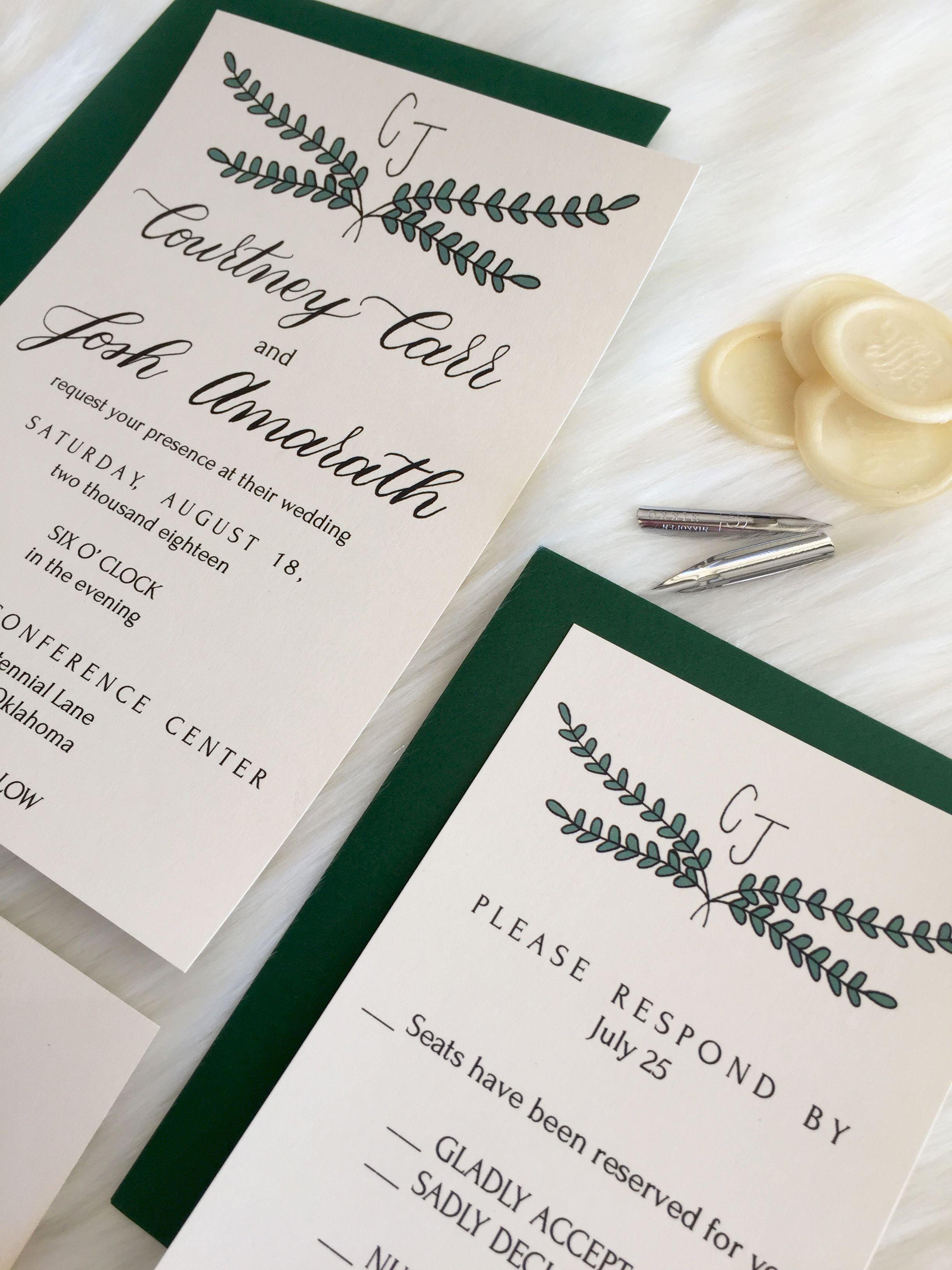 Simple Green and Black Wedding Invitation Wedding