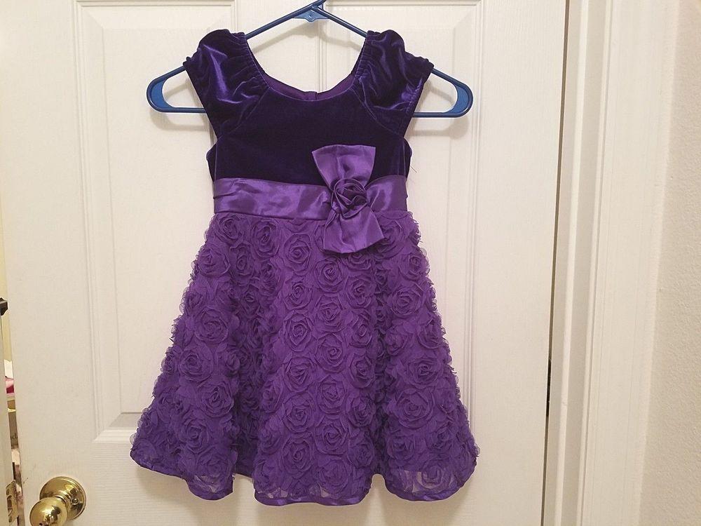 JONA MICHELLE Toddler Girls Party Dress Purple Velveteen Fabric ...