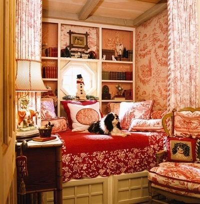 Cozy bedroom, red toile wallpaper, built in bed, octagon window and ...