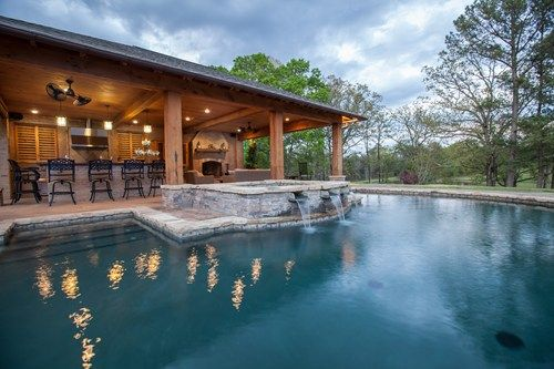 swimming pool with outdoor kitchen plans | backyard landscaping ...