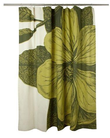 Botanical Shower Curtain Chartreuse Beach Decor Coastal Home Nautical