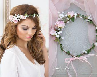 Peonie Flower Crown Hochzeit Tiara Brautblumen Fairy Crown mit Rosen Blumengirlande Festival oder Braut Haarkranz Haarblüten pink  Komunia