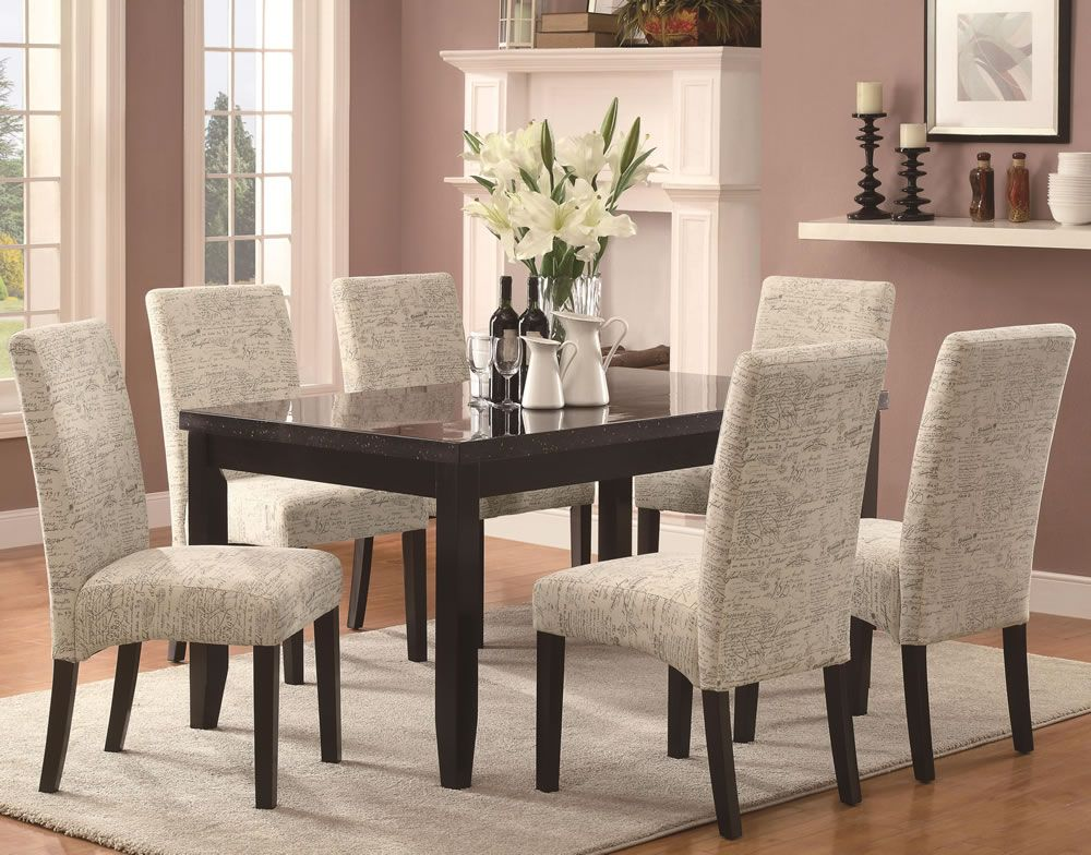 White Fabric Dining Chairs | Dining room chairs, Dining ...