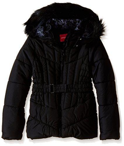 London Fog Big Girls' Belted Solid Puffer Coat >>> For more information, visit