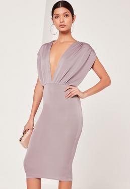 907204d72616 Plunge Wide Sleeve Midi Dress Grey