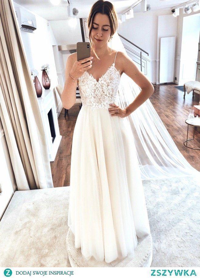 weißes Spitze Chiffon Brautkleid #bridalshops