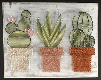 Kaktus Garten Tanga Kunst • saftige Zeichenfolge srt • Wohnkultur • rustikale Wandkunst • rustikale saftige Kaktus Wanddekoration • Schattenkaktus #stringart