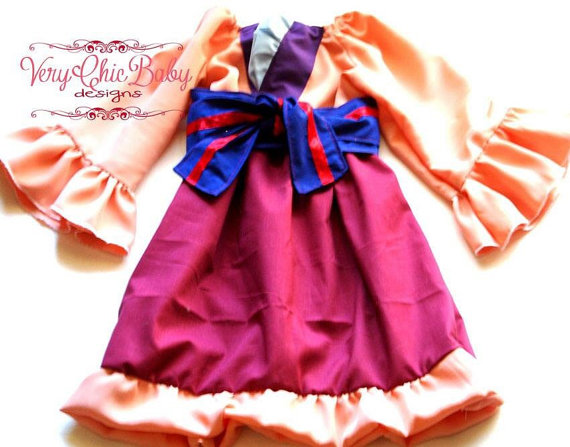 Custom Mulan Costume Dress Halloween 2 pc Set by VeryChicBaby