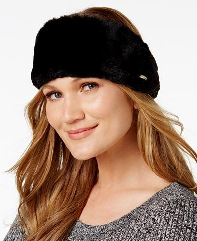 443c890b9f7 Calvin Klein Faux Fur Headband - Winter Accessories   Gloves - SLP - Macy s