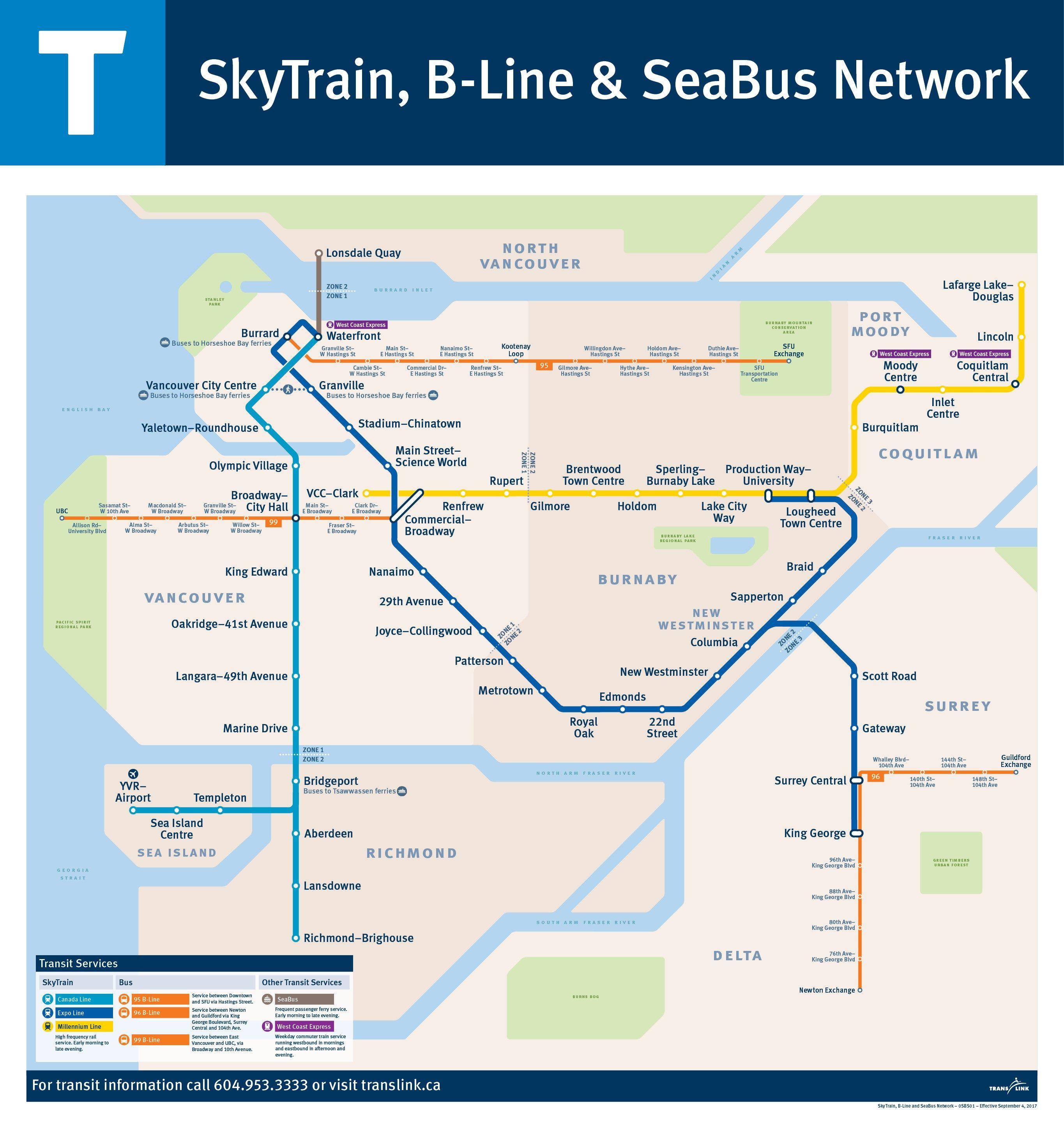 B Line Subway Map.Metro Vancouver Translink Skytrain B Line Network 2018 Eisenbahn