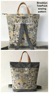 Photo of Brooklyn Totepack sewing pattern. Tote bag sewing pattern that converts to a bac…