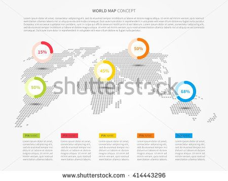 Perspective world map infographic with colorful pointers vector perspective world map infographic with colorful pointers vector illustration modern perspective world map with pins graphic design gumiabroncs Images