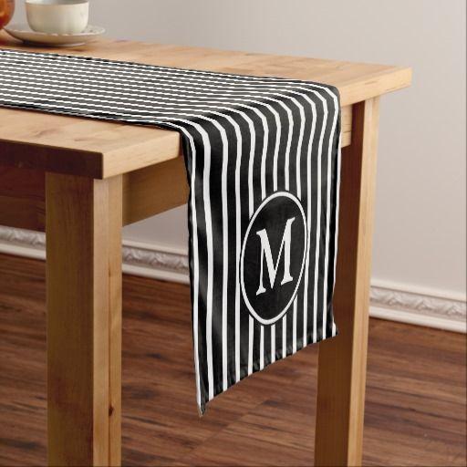 Monogram Black And White Pin Stripes Pattern Short Table Runner Zazzle Co Nz
